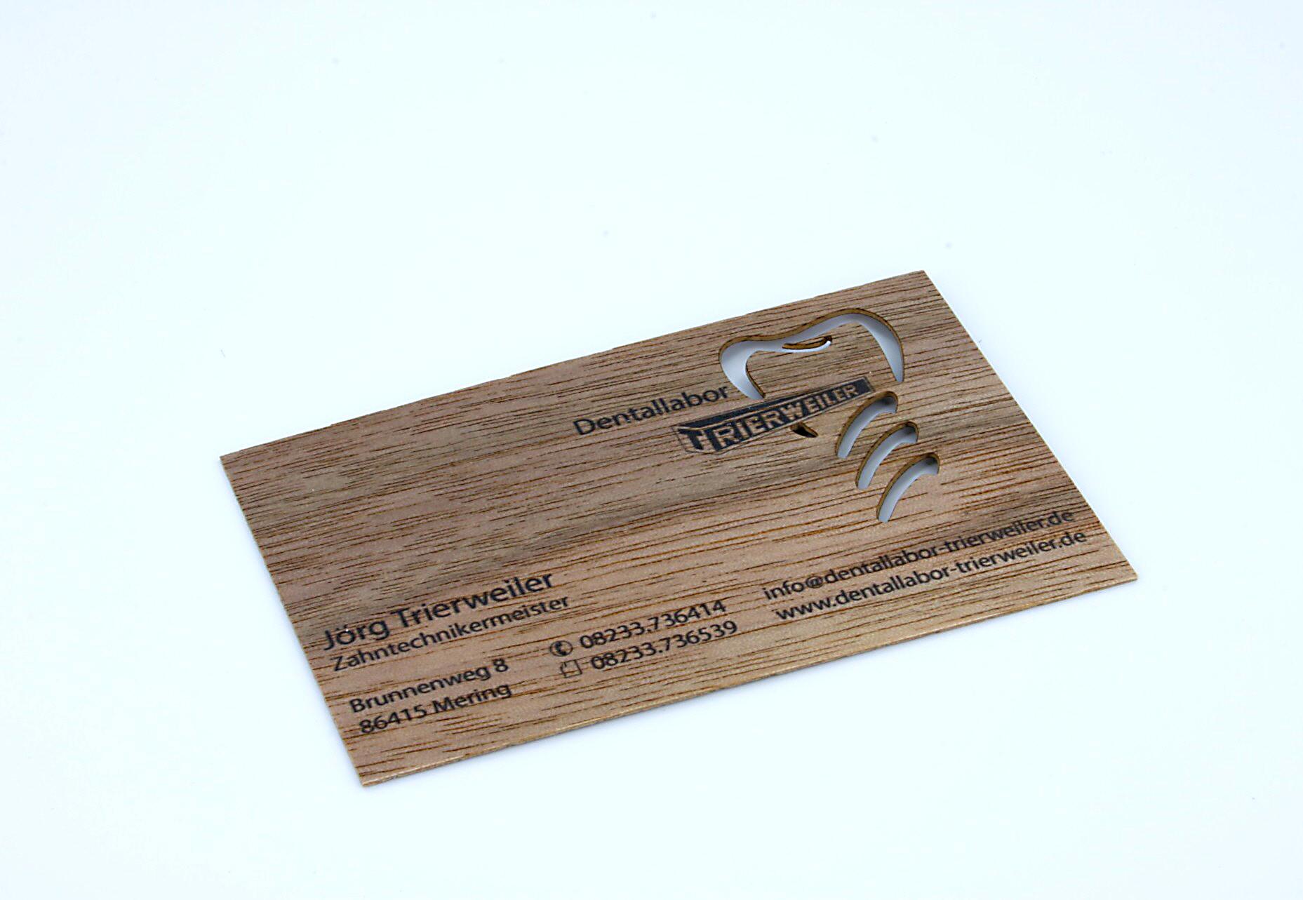 Visitenkarte aus holzfurnier digitaldruck und for Visitenkarten ideen