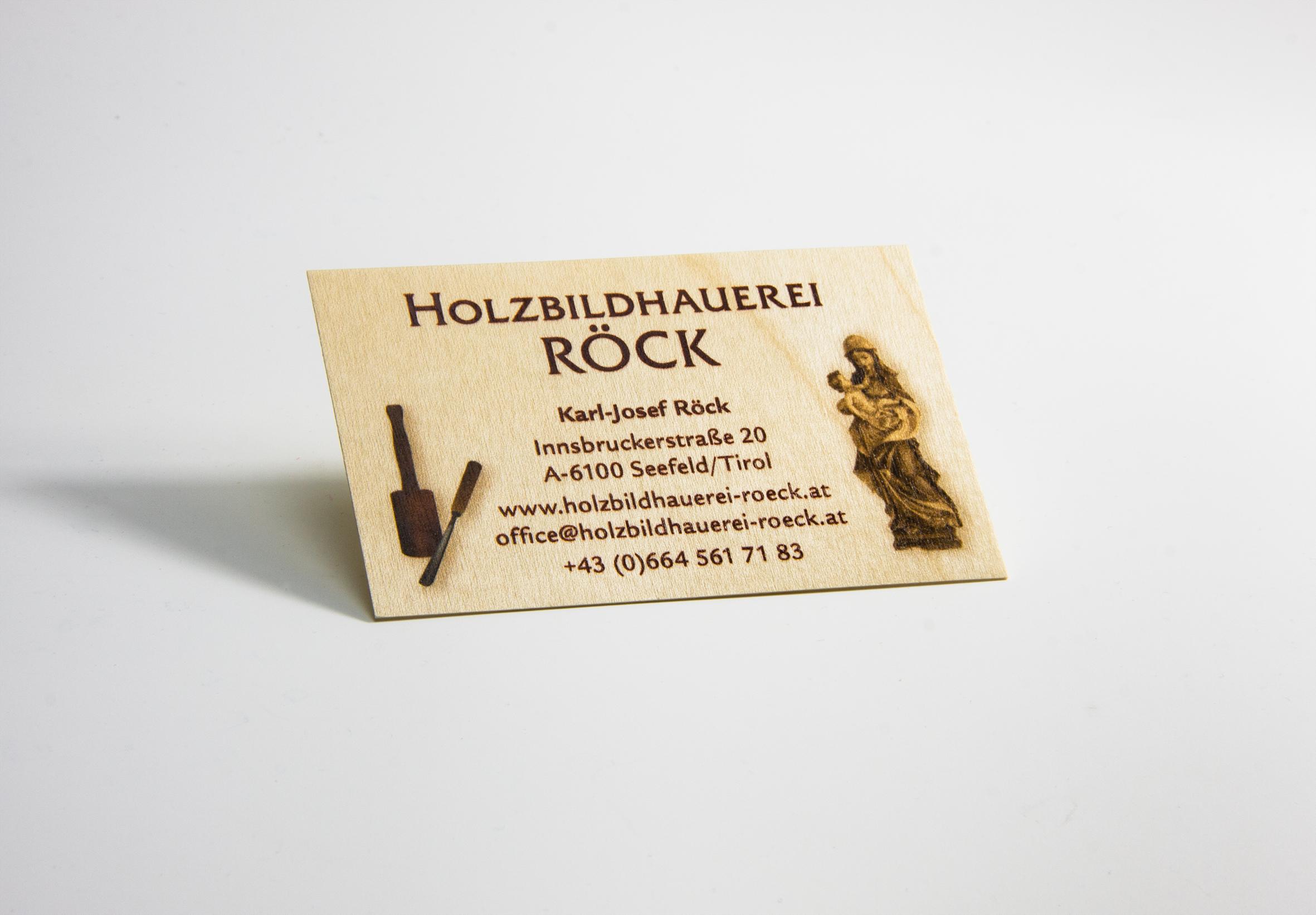 edle visitenkarten aus holz auch in kleinen auflagen ab. Black Bedroom Furniture Sets. Home Design Ideas