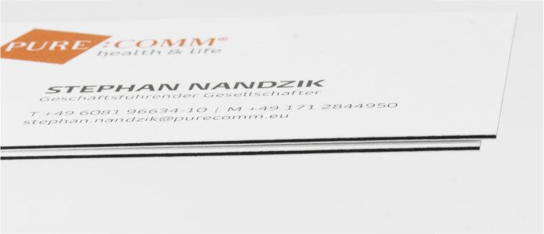 Kaschierte Visitenkarte aus Feinpapier, Gmund Karton und Feinpapier
