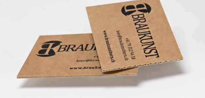Visitenkarten auf brauner mikrowellpappe tipps tricks for Visitenkarten ideen