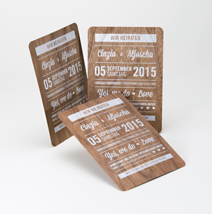 individuelle einladungskarten zur hochzeit – weißer druck auf, Einladung