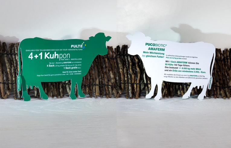 Gestanzte Karten: Mailingkarte mit Stanzung in Kuh-Form